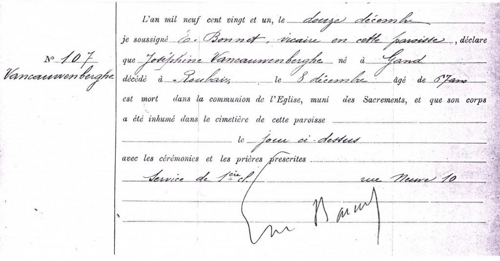 inhumation josephine VANCAUWENBERGHE