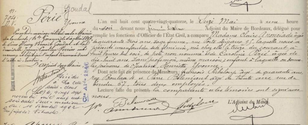 Acte de naissance - 1894 - Bordeaux