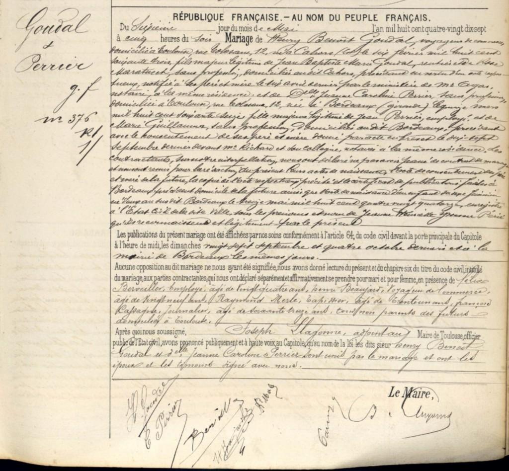 Acte de mariage - 1897 - Toulouse