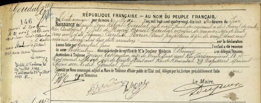 Acte de naissance GOUDAL Jean Robert - 1898 - Toulouse