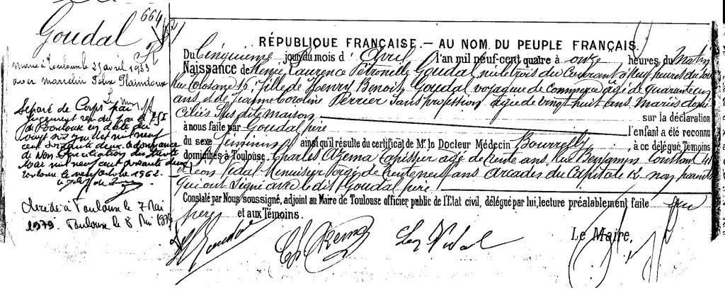 Acte de naissance GOUDAL Renée Laurence Pétronille - 1904 - Toulouse