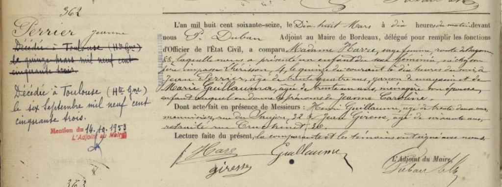 Acte de naissance PERRIER Jeanne Caroline - 1876 - Bordeaux