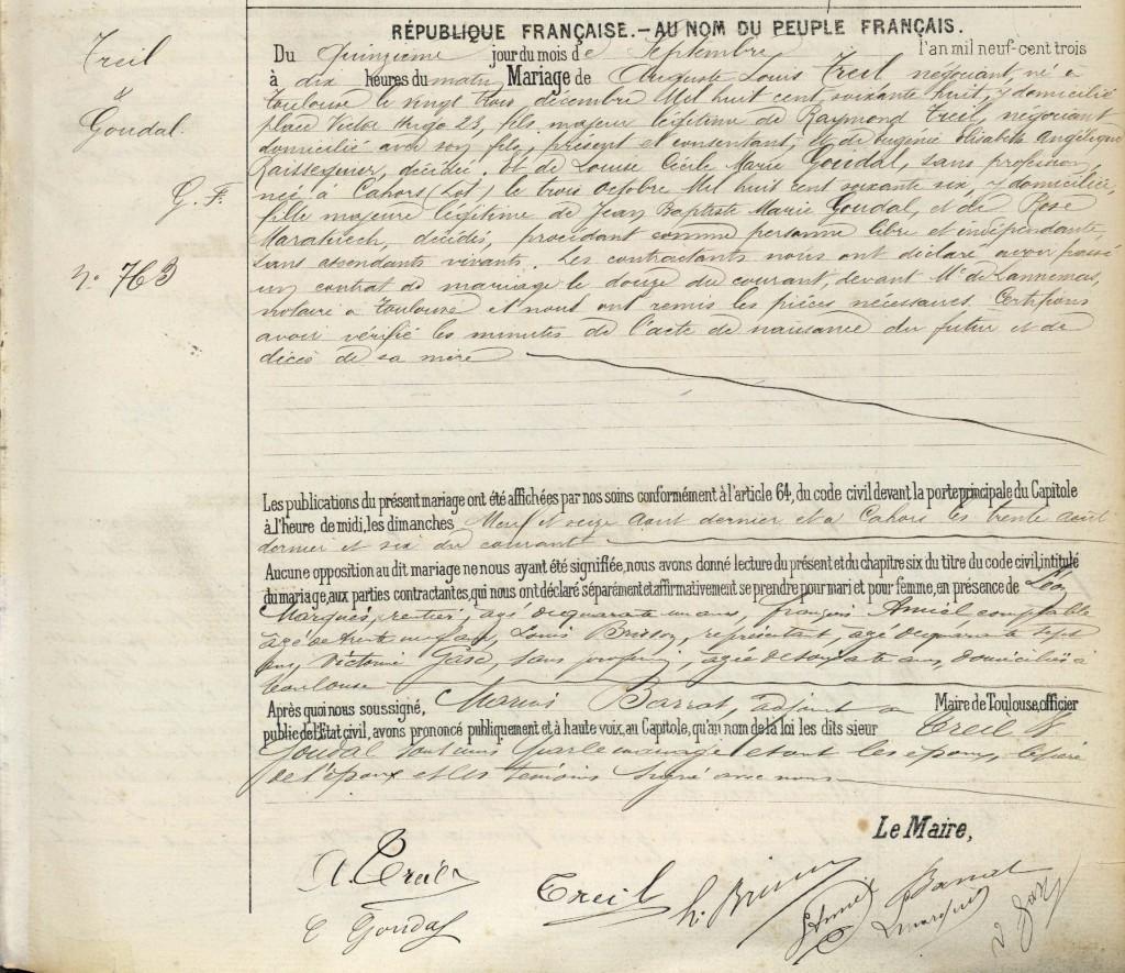 Acte de mariage TREIL - GOUDAL - 1903 - Toulouse