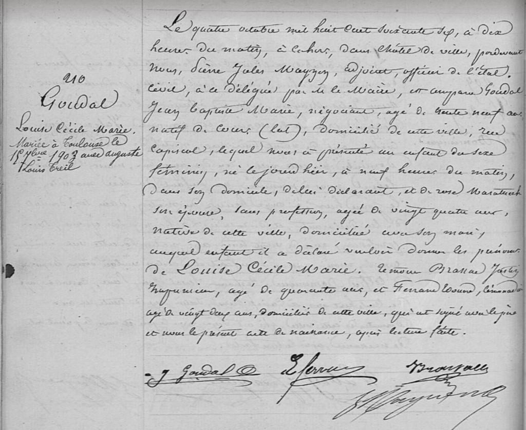Acte de naissance GOUDAL Louise Cécile Marie - 1866 - Cahors