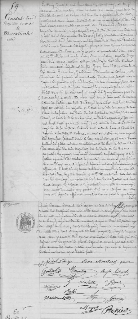 Acte de mariage GOUDAL - MARATUECH - 1859 - Cahors