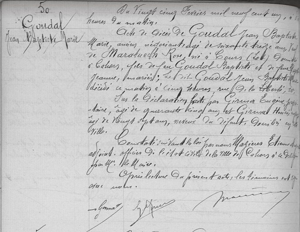 Acte de décès Jean Baptiste Marie GOUDAL - 1901 - Cahors