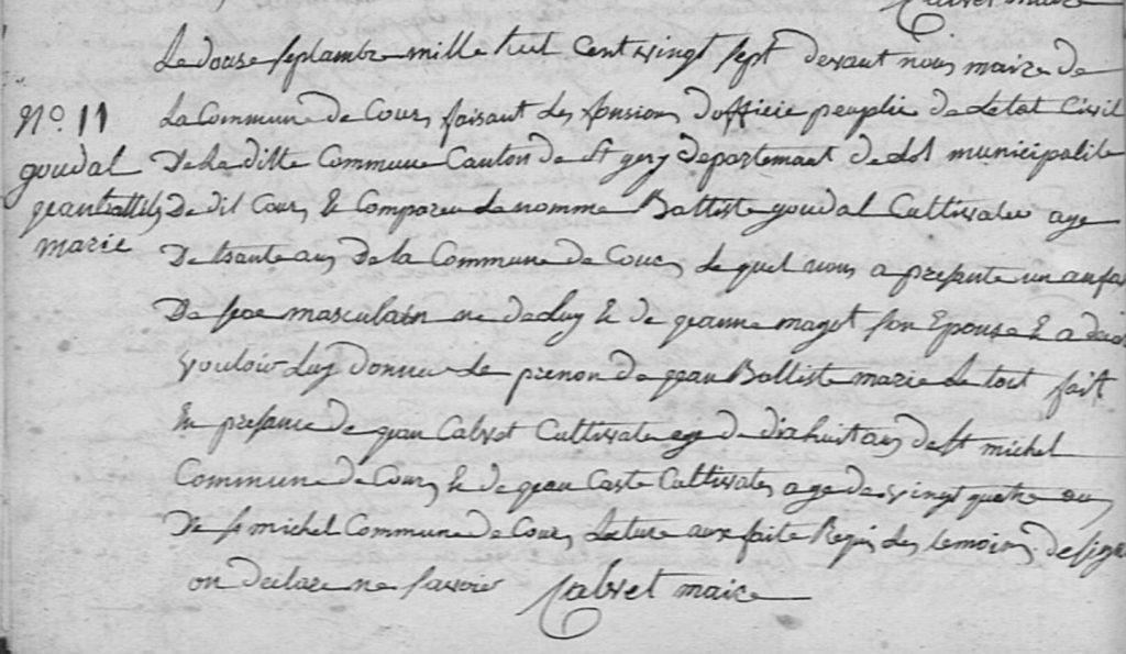 Acte de naissance de Jean Baptiste Marie GOUDAL - 1827 - Cours