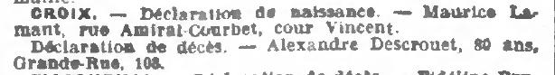 Journal de Roubaix du 08 mars 1907 - Avis de décès