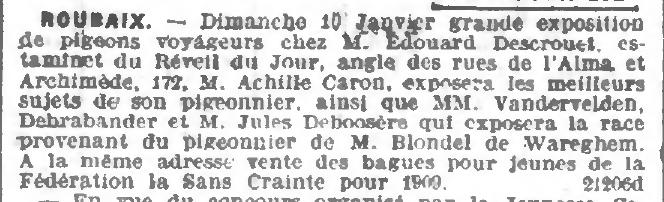Extrait du Journal de Roubaix du 10 janvier 1909 - Exposition de Pigeon