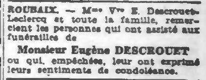 Journal de Roubaix du 27 mars 1943 - Remerciements après décès