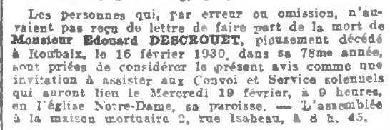 """Extrait du """"Journal de Roubaix"""" du 18 février 1930"""" - Rubrique Convoi Mortuaire"""