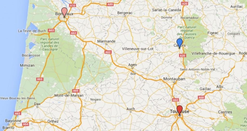Carte des lieux de vie du couple GOUDAL - PERRIER